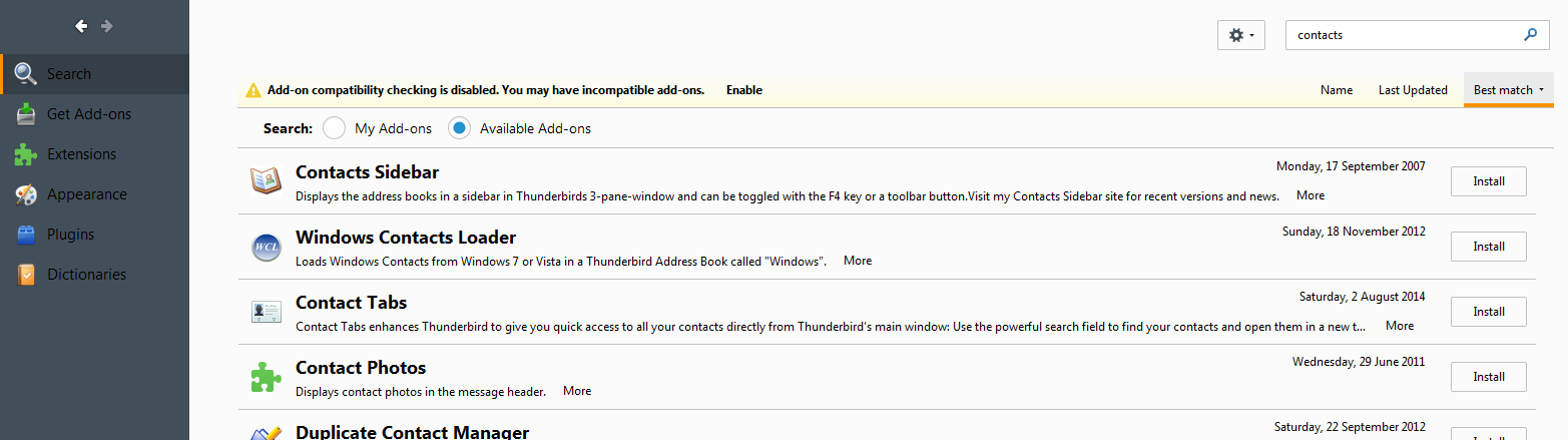 Installing an Add-on in Thunderbird