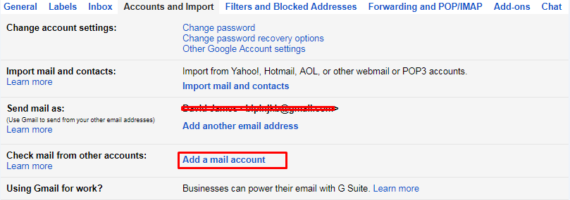 Add a mail account Gmail b