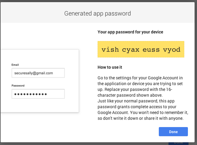 Generated app password