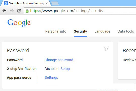 Google app passwords