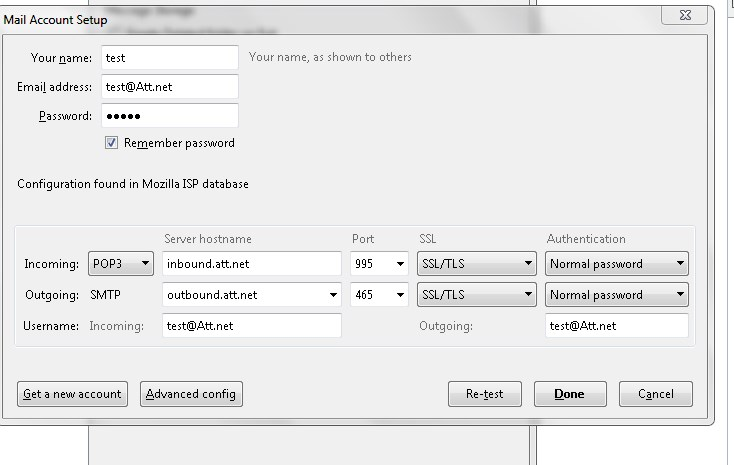ATT email POP3 settings with Mozilla Thunderbird