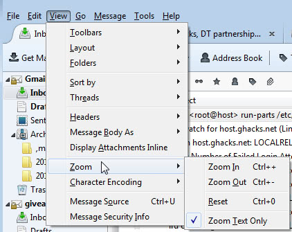 change font size in Thunderbird mail