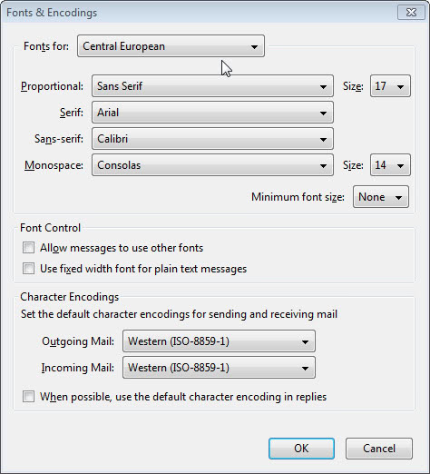 MODIFY DEFAULT FONTS IN ThunderBird