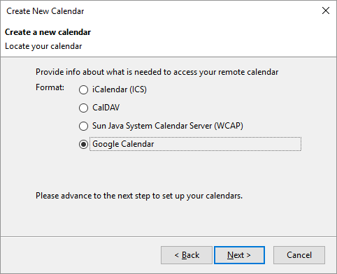 Add google calendar to Thunderbird lightning