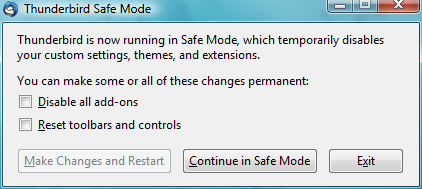 Open thunderbird in safe mode