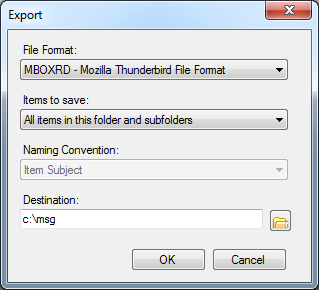 convert outlook .pst files to Thunderbird